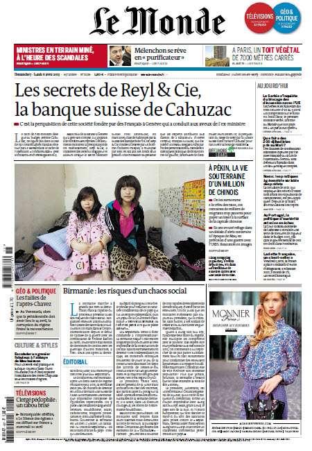 Le Monde Dimanche 07 au Lundi 08 Avril 2013